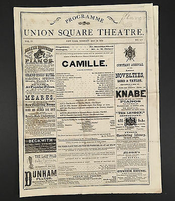 May 19, 1874 UNION SQUARE THEATRE NYC Program/Playbill Clara Morris in CAMILLE