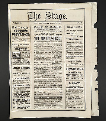 Mar 23, 1877 Henry Abbey's PARK THEATRE NYC Program/Playbill OUR BOARDING HOUSE