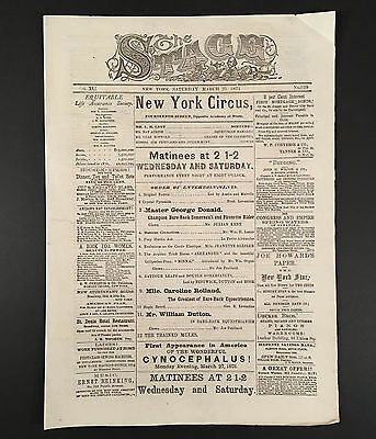 March 25, 1871 L.B. Lent's NEW YORK CIRCUS at HIPPOTHEATRON 14th St NYC Program