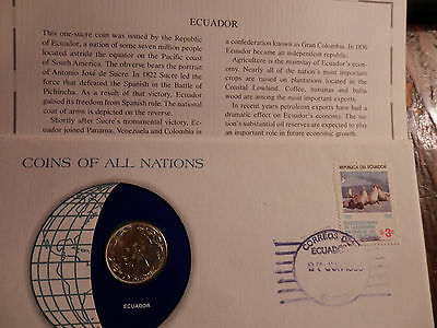 ECUADOR 1980 1-SUCRE COIN - UNC - STAMP  FRANKLIN MINT Coins of Nations