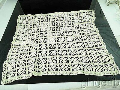 "Antique Embroidered Crochet Table Doily 18"" by 13"""