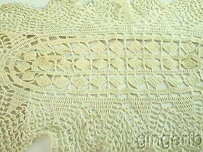"Antique Embroidered Crochet Table Doily 18"" by 12"""