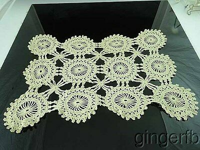"Antique Embroidered Crochet Table Doily 19"" by 16"""
