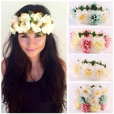 Big FLOWER Crown Wedding Hair Band Headband Boho Hippie Chic Floral Bridal Girls