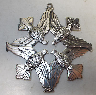 vintage 1971 PEACE on EARTH CHRISTMAS sterling silver wallace ornament doves