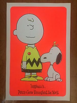ORIGINAL VINTAGE 1960s PEANUTS BLACKLIGHT POSTER-CHARLIE BROWN-SNOOPY-WOODSTOCK