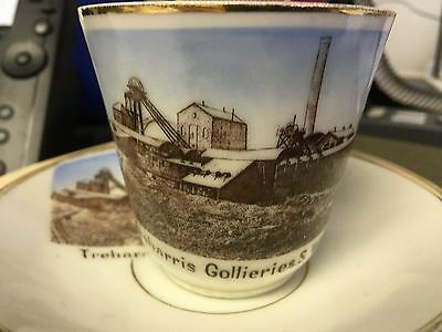Antique Porcelain Souvenir Cup / Saucer Treharris Collieries South Wales Mining