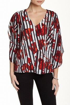 Valette NEW Red Black Printed Floral Striped Women's Size XS Blouse $29 #495