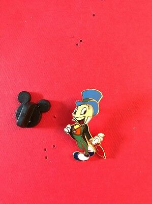 Disney Simple Pinocchio's Jiminy Cricket Leaning On His Red Umbrella Pin