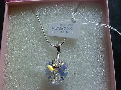"Genuine Swarovski Elements 18mm Crystal Gift Boxed 20"" Silver Pendant Necklace"