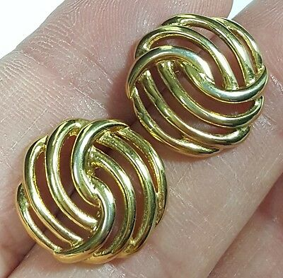Vtg Jewelry Earrings Monet Gold Tone Metal Button Design Christmas Gift #4697