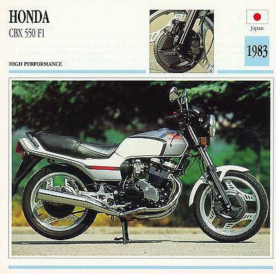 1983 HONDA CBX 550 F1 motorcycle collector card.