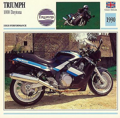 1990 TRIUMPH 1000 DAYTONA motorcycle collector card.