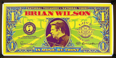BRIAN WILSON 2001 SIGNED National Treasure Concert Tour Poster BEACH BOYS
