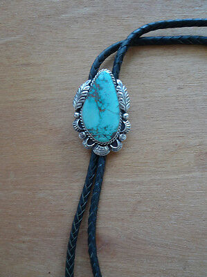 Native American Sterling Silver w Turquoise Bolo Tie signed SES