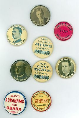9 Vintage 1900s-40s Mayors Governors Political Pinback Buttons Miller Mohr OCon