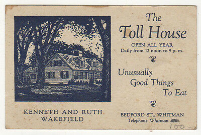 1940s TOLL HOUSE INN Cookie WHITMAN MASSACHUSETTS Advertisement Card WAKEFIELD