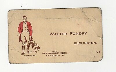 1910s/20s CRAWFORD SHOE Fitting Card WALTER FONDRY Burlington Vermont VT Shoes