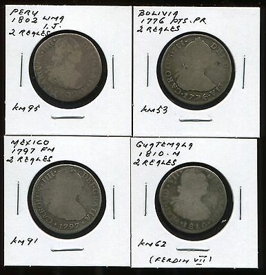 ** Bolivia , Peru , Guatemala & Mexico , Colonial 2 Reales ...lot Of 4 Pieces**