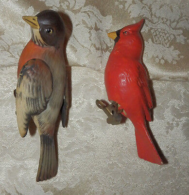 2 Vintage Porcelain Red Bird & Robin Clip On Christmas Ornaments