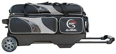 900 Global 3 Ball Bowling Roller Bag with Double Urethane Wheels Color Silver