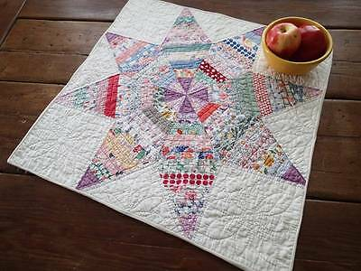 Fabulous Vintage 1930s Feedsack Star Table or Doll Quilt 23x23