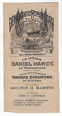 1876 NEW HAMPSHIRE Political BALLOT Ticket DANIEL MARCY Portsmouth ALSTEAD
