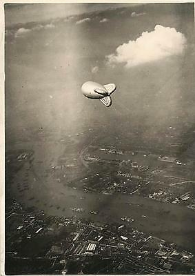 1938 Barrage Balloon over Victoria Docks during First Test in London Press Photo