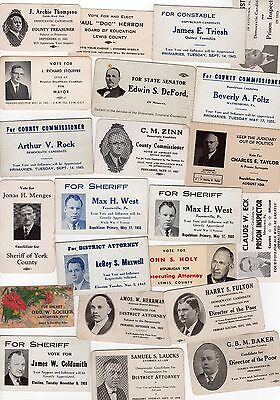 PENNSYLVANIA Political PALM CARD Lot COLLECTION Sheriff DIRECTOR POOR Attorney