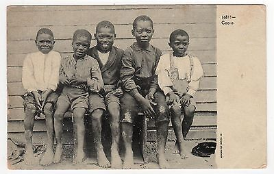 BLACK AMERICANA PC Postcard STEREOTYPE African American RACIST Children Coons