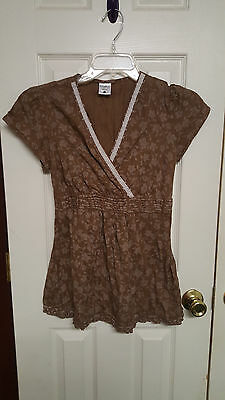 Women Size S Motherhood Maternity Brown Floral Shirt