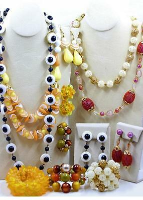 Vintage Lot 12 Plastic Necklace Bracelet Earring Sets Mod 1960s Japan W Germany