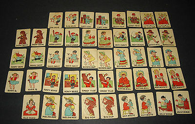VT 1930's Russell Big-Little Card Game Old Maid 47 Cards UNUSUAL AMERICANA CARDS