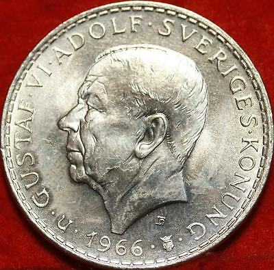 Uncirculated 1966 Sweden 5 Kroner Silver Foreign Coin Free S/H