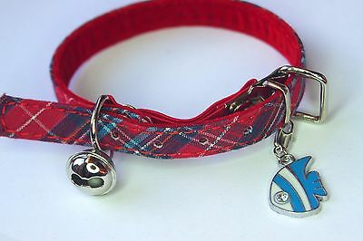 RED TARTAN kitten or cat COLLAR with blue/white tropical fish CLIP ON