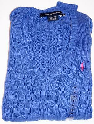 NEW RALPH LAUREN POLO Womens Vneck Cable Knit Sweater Blue Size XS