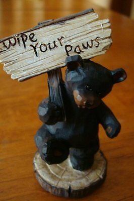 Faux Wood Carved BLACK BEAR WIPE YOUR PAWS LODGE SIGN Cabin Home Decor Figurine