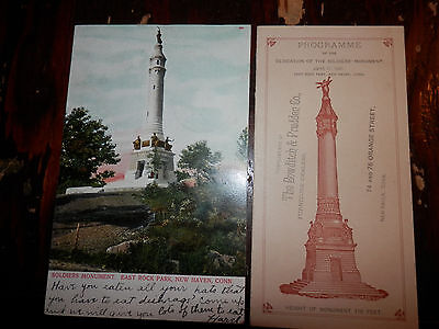 NEW HAVEN CT - CIVIL WAR SOLDIERS MONUMENT POSTCARD and 1887 DEDICATION PROGRAM