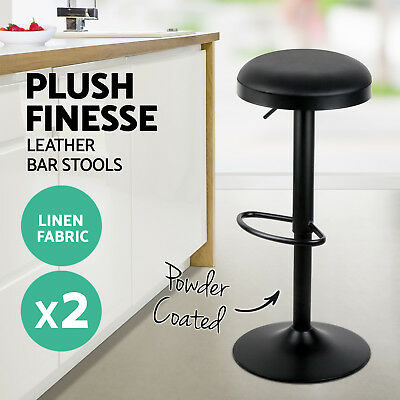 2x Swivel Bar Stool Round Leather Kitchen Barstool Dining Chair Gas Lift Black