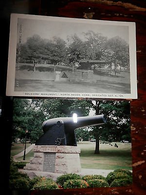 NORTH HAVEN CT - CIVIL WAR - SOLDIERS MONUMENT - OLD Postcard plus MODERN PHOTO
