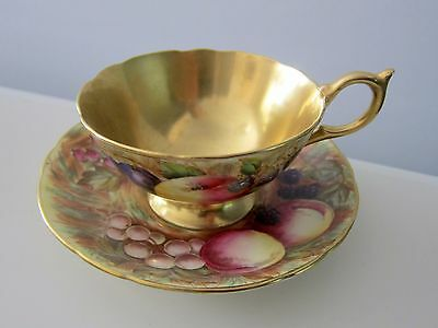 Aynsley Orchard Fruit Gold  Teacup Saucer Bone China England Signed By Artist