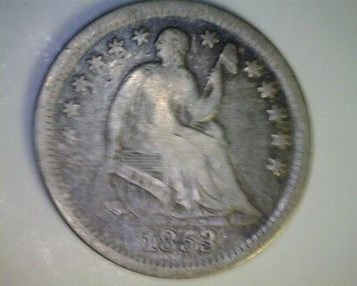 ICOIN - 1853 NO ARROWS Seated Liberty Half Dime VG-Fine Sharpness