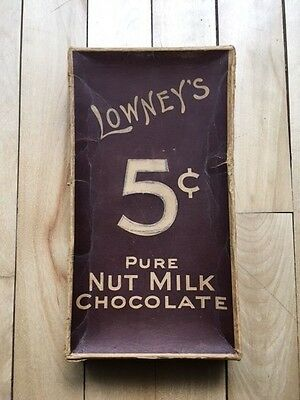 Vintage 1928 empty box of Lowney's Nut Milk Chocolates