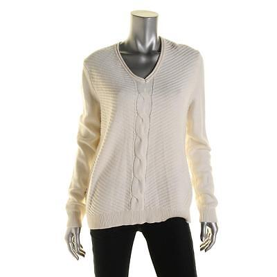 American Living 3505 Womens Ivory Cable Knit V-Neck Pullover Sweater Top XL BHFO