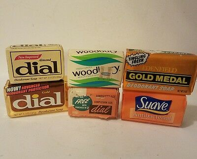 Vintage Soap Bar Lot Mid Century Bath 1960-1980 Dial Woodbury Gold Medal
