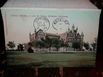 STILLWATER OK - RARE 1908 Used Postcard - A. and M. College Library Building