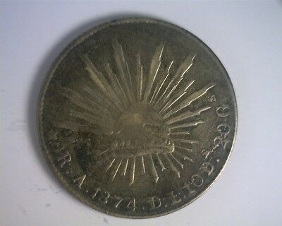 ICOIN - Mexico 1874DL-A Alamos Mint Silver 8 Reales