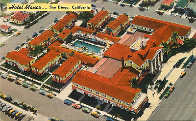 Linen Roadside Aerial View Hotel Manor, San Diego, California - ca 1950s