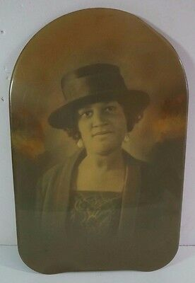 VTG 1940s African American Woman Tinted Portrait Photograph on Metal 9x14