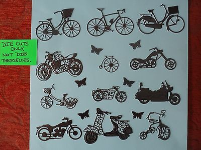 Motorbike,bicycle,moped,tricycle Die Cuts/toppers,(D76) Cardmaking,jamjar Lights